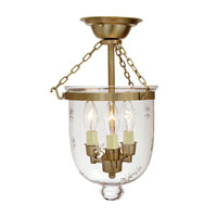 Hundi 3 Light 9 inch Rubbed Brass Semi-Flush Mount Ceiling Light