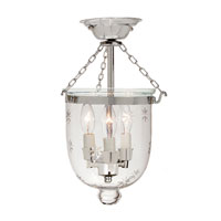 JVI Designs Bell Jar 3 Light Semi Flush Lantern in Polished Nickel 1016-15