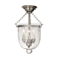 JVI Designs Bell Jar 3 Light Semi Flush Lantern in Pewter 1016-17