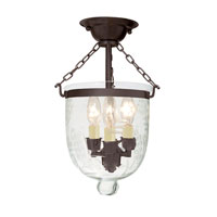 JVI Designs Bell Jar 3 Light Semi Flush Lantern in Oil Rubbed Bronze 1017-08