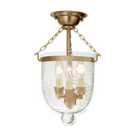 JVI Designs Bell Jar 3 Light Semi Flush Lantern in Rubbed Brass 1017-10