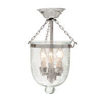 JVI Designs Bell Jar 3 Light Small Semi-Flush Mount in Polished Nickel with Flower Glass 1017-15