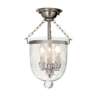 JVI Designs Bell Jar 3 Light Semi Flush Lantern in Pewter 1017-17
