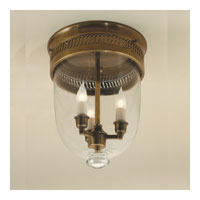 JVI Designs Bell Jar 3 Light Small Flush Bell Pendant in Weathered Bronze with Clear Glass 1018-02
