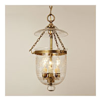 JVI Designs Bell Jar 3 Light Medium Hanging Bell Pendant in Rubbed Brass with Flower Glass 1025-10