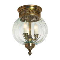 Melon 3 Light 10 inch Rubbed Brass Flush Mount Ceiling Light