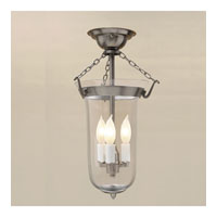 JVI Designs Bell Jar 3 Light Semi Flush Lantern in Pewter 1044-17