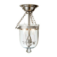 JVI Designs Bell Jar 2 Light Tiny Semi-Flush Mount in Pewter with Clear Glass 1047-17