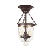 JVI Designs Bell Jar 2 Light Tiny Semi-Flush Mount in Oil Rubbed Bronze with Star Glass 1048-08