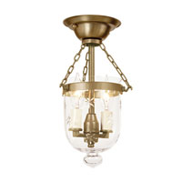 JVI Designs Bell Jar 2 Light Semi Flush Lantern in Rubbed Brass 1048-10