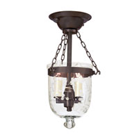 JVI Designs Bell Jar 2 Light Semi Flush Lantern in Oil Rubbed Bronze 1049-08
