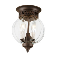 Melon Jar 2 Light 8 inch Oil Rubbed Bronze Flush Bell Pendant Ceiling Light