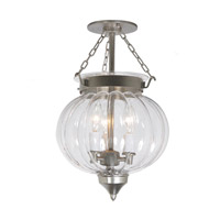 JVI Designs 1053-17 Melon 3 Light 10 inch Pewter Semi-Flush Mount Ceiling Light