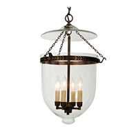 JVI Designs Bell Jar 4 Light Extra Large Hanging Bell Pendant in Oil Rubbed Bronze with Clear Glass 1057-08