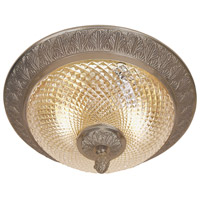 Traditional Brass 2 Light 10 inch Weathered Bronze Flush Mount Ceiling Light