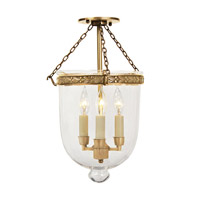 Bell Jar 3 Light 11 inch Rubbed Brass Semi-Flush Mount Ceiling Light