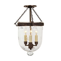 JVI Designs Bell Jar 3 Light Semi Flush Lantern in Oil Rubbed Bronze 1151-08