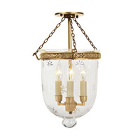 JVI Designs Bell Jar 3 Light Semi-Flush Mount in Rubbed Brass 1151-10