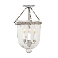 JVI Designs Bell Jar 3 Light Semi Flush Lantern in Pewter 1151-17