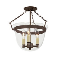 JVI Designs Bell Jar 3 Light Semi Flush Lantern in Oil Rubbed Bronze 1153-08