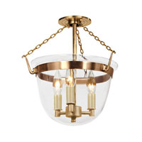 JVI Designs Bell Jar 3 Light Small Semi-Flush Mount in Rubbed Brass with Clear Glass 1153-10