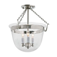 JVI Designs Bell Jar 3 Light Semi Flush Lantern in Polished Nickel 1153-15