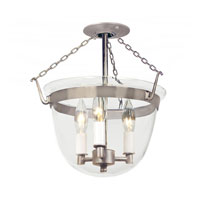 Bell Jar 3 Light 13 inch Pewter Semi-Flush Mount Ceiling Light