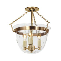 Bell Jar 3 Light 13 inch Rubbed Brass Semi-Flush Mount Ceiling Light