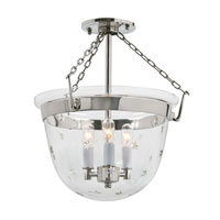 JVI Designs Bell Jar 3 Light Semi Flush Lantern in Polished Nickel 1154-15
