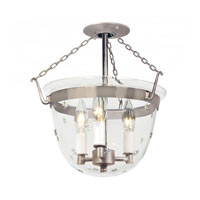 JVI Designs Bell Jar 3 Light Semi Flush Lantern in Pewter 1154-17