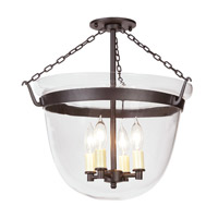 JVI Designs Bell Jar 4 Light Hanging Bell Pendant in Oil Rubbed Bronze 1155-08