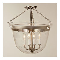 JVI Designs Bell Jar 4 Light Semi Flush Lantern in Pewter 1156-17