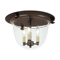 JVI Designs Bell Jar 3 Light Flush Bell Pendant in Oil Rubbed Bronze with Clear Glass 1157-08