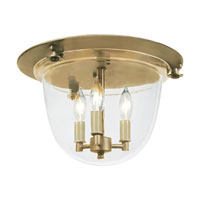 JVI Designs Bell Jar 3 Light Flush Bell Pendant in Rubbed Brass 1157-10