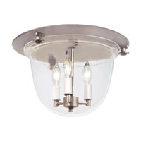 Bell Jar 3 Light 14 inch Pewter Flush Bell Pendant Ceiling Light