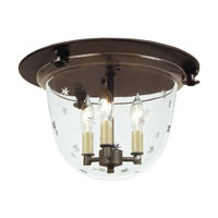 Classic Bell 3 Light 14 inch Oil Rubbed Bronze Flush Bell Pendant Ceiling Light