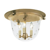 JVI Designs Bell Jar 3 Light Semi Flush Lantern in Rubbed Brass 1158-10