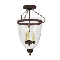 JVI Designs Danbury 3 Light Semi-Flush Mount in Oil Rubbed Bronze with Clear Glass 1162-08