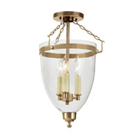 JVI Designs Danbury 3 Light Semi-Flush Mount in Rubbed Brass 1162-10