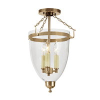 Danbury 3 Light 11 inch Rubbed Brass Semi-Flush Mount Ceiling Light