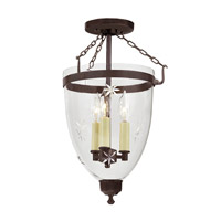 JVI Designs Danbury 3 Light Semi-Flush Mount in Oil Rubbed Bronze with Star Glass 1163-08