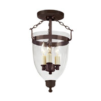 JVI Designs Danbury 3 Light Semi-Flush Mount in Oil Rubbed Bronze with Clear Glass 1165-08