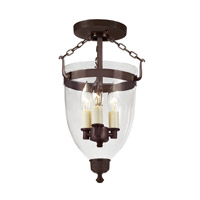Danbury 3 Light 9 inch Oil Rubbed Bronze Semi-Flush Mount Ceiling Light