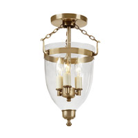 Danbury 3 Light 9 inch Rubbed Brass Semi-Flush Mount Ceiling Light