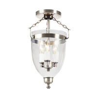 Danbury 3 Light 9 inch Pewter Semi-Flush Mount Ceiling Light