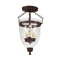 JVI Designs Danbury 3 Light Semi-Flush Mount in Oil Rubbed Bronze with Star Glass 1166-08