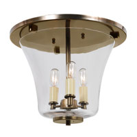Greenwich 3 Light 12 inch Rubbed Brass Flush Mount Ceiling Light