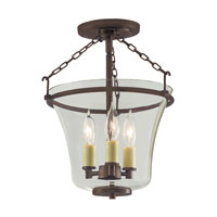 Greenwich 3 Light 11 inch Oil Rubbed Bronze Semi-Flush Mount Ceiling Light
