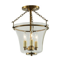 Greenwich 3 Light 11 inch Rubbed Brass Semi-Flush Mount Ceiling Light