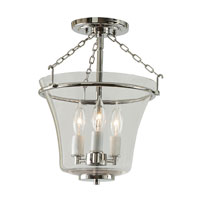 Greenwich 3 Light 11 inch Polished Nickel Semi-Flush Mount Ceiling Light